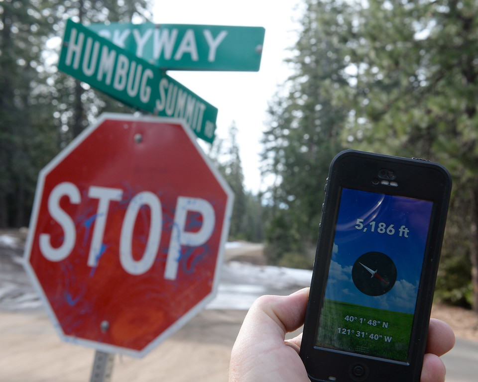 . A tiny bit of snow and ice is seen along the side of the road above Inskip Tuesday. The paved Skyway from Inskip to Butte Meadows is accessible by an average car without 4 wheel drive today due to a lack of snow Tuesday Jan. 2, 2018. (Bill Husa -- Enterprise-Record)