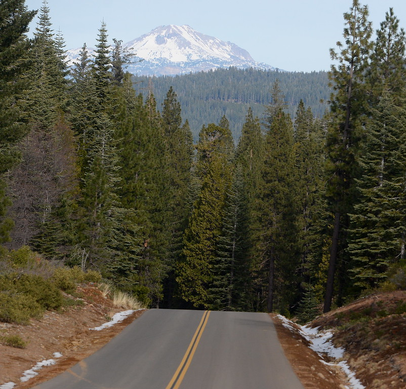 . Lassen Peak is seen from Skyway above Butte Meadows Tuesday. The paved Skyway from Inskip to Butte Meadows is accessible by an average car without 4 wheel drive today due to a lack of snow Tuesday Jan. 2, 2018. (Bill Husa -- Enterprise-Record)