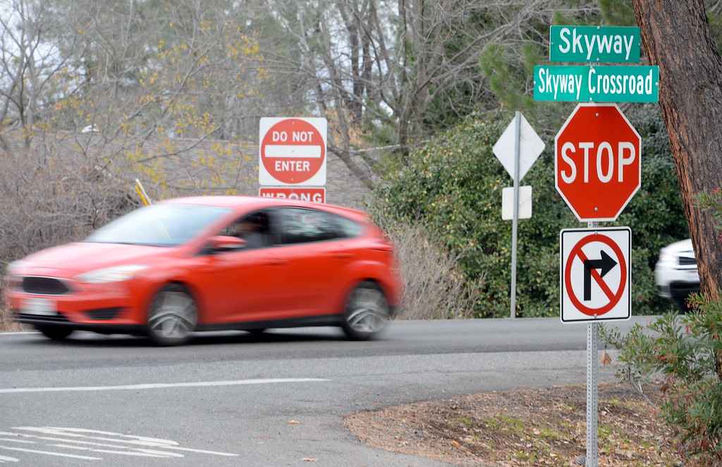 . Southbound Skyway at Skyway Crossroad is on the list of roads needing repair in the Paradise, Calif. area Thurs. Jan. 4, 2018. A left-turn lane is needed at this turn. (Bill Husa -- Enterprise-Record)