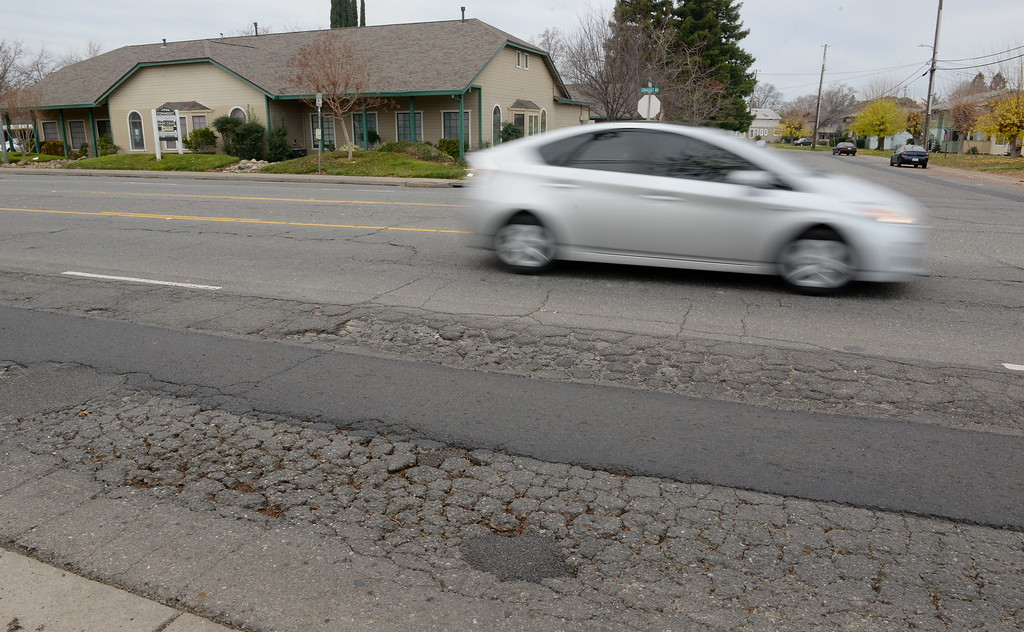 . A bad section of road between East Ave. and Eaton Road near Elisha Ct. is seen in Chico, Calif. Wed. Dec. 3, 2018. This was voted as the #1 road in Chico needing repair.  (Bill Husa -- Enterprise-Record)
