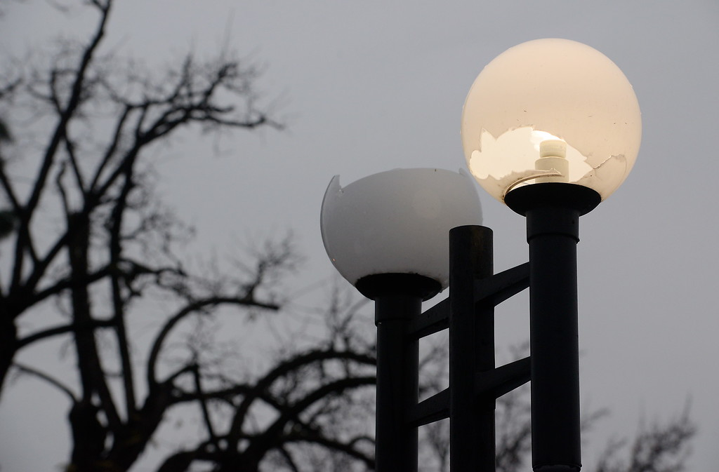 . Broken lights appear to be a victim of vandalism near a medical building in Chico, Calif. Thurs. Jan. 4, 2018.  (Bill Husa -- Enterprise-Record)