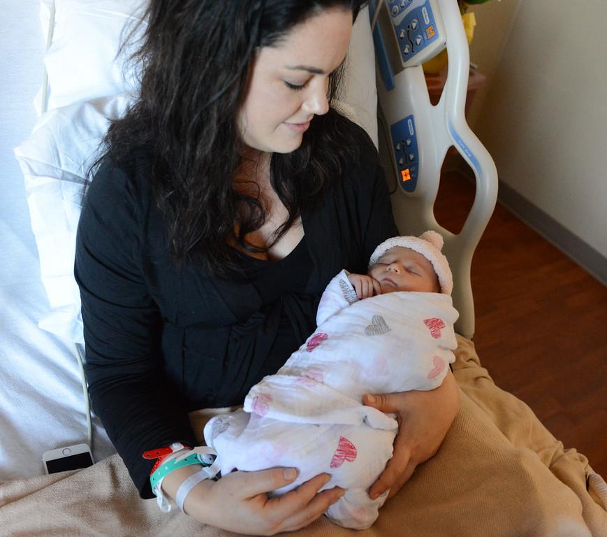 . Rebekah Tennis holds her newborn Charlotte Rachel Tennis Butte County\'s first baby of 2018 January 1, 2018 at Enloe Medical Center in Chico, California. (Emily Bertolino -- Enterprise-Record)