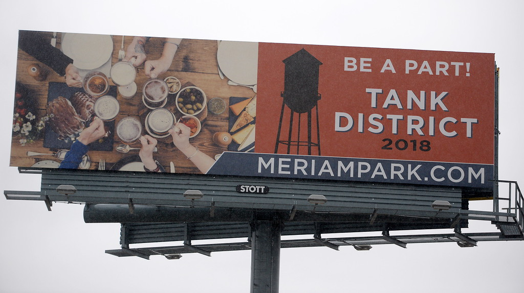 . A billboard for Meriam Park that shows a big water tank is seen along Entler Ave. in Chico, Calif. Friday Jan. 5, 2018.  (Bill Husa -- Enterprise-Record)