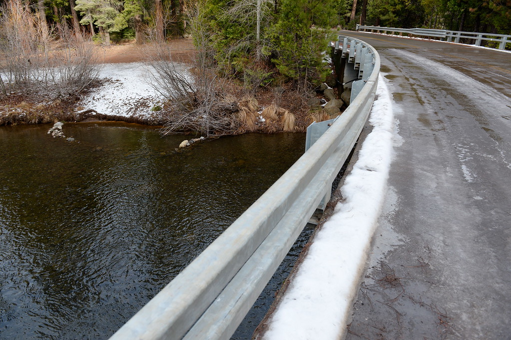 . The Butte Creek bridge in Butte Meadows remains icy but passable Tuesday. The paved Skyway from Inskip to Butte Meadows is accessible by an average car without 4 wheel drive today due to a lack of snow Tuesday Jan. 2, 2018. (Bill Husa -- Enterprise-Record)