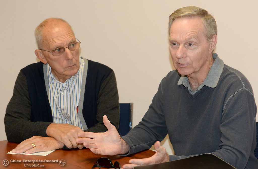 . BT Chapman, left and Mike Burson during an interview at the Chico ER office Thursday, Oct. 12, 2017. Mike Burson is the new chair for the Service Corps of Retired Executives. (Bill Husa -- Enterprise-Record)