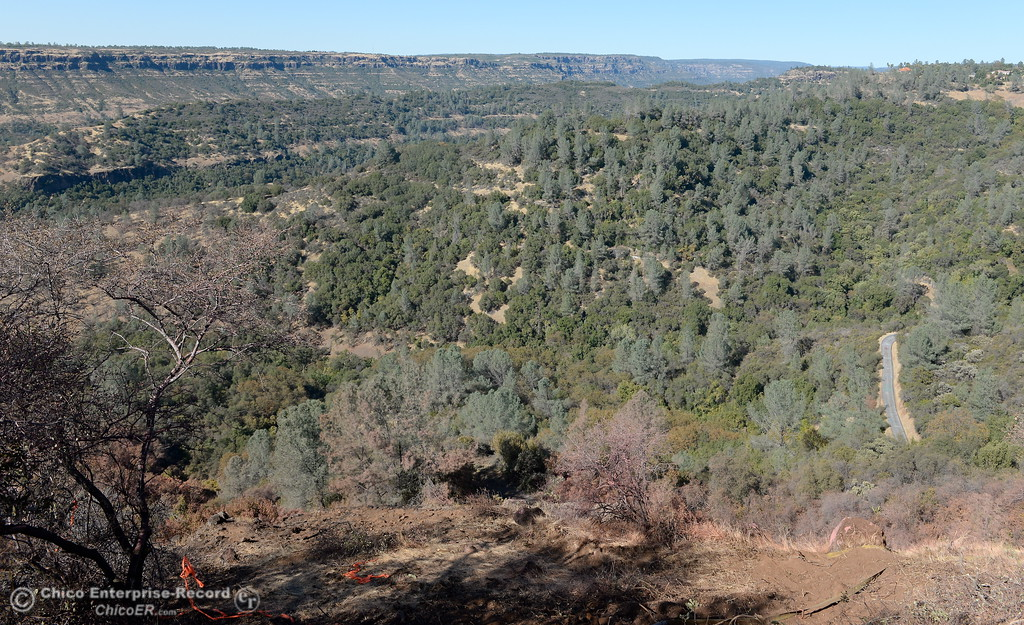 . Honey Run Road is seen in the lower right corner of this photo on the edge of Butte Creek Canyon near lower Paradise, Calif. Thursday. (Bill Husa -- Enterprise-Record)