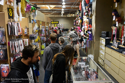 Costume shoppers browse the aisles of Dracula's Closet looking for Halloween ideas Saturday, Oct. 29, 2016, in Chico, California. (Dan Reidel -- Enterprise-Record)