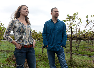 Vanessa and Jess Pitney talk about their winery Nesseré, on Saturday, Oct. 29, 2016, in Durham, California. (Dan Reidel -- Enterprise-Record)