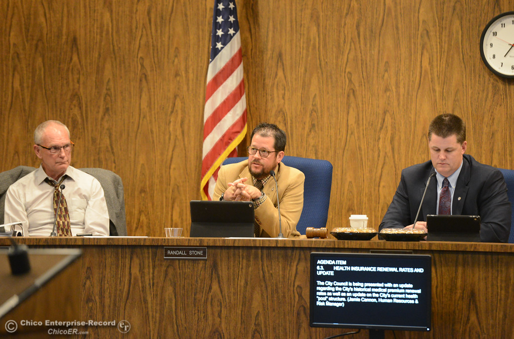 . City council members Karl Ory, Randall Stone and Mayor Sean Morgan at a council meeting Tuesday October 3, 2017 in Chico, California. (Emily Bertolino -- Enterprise-Record)
