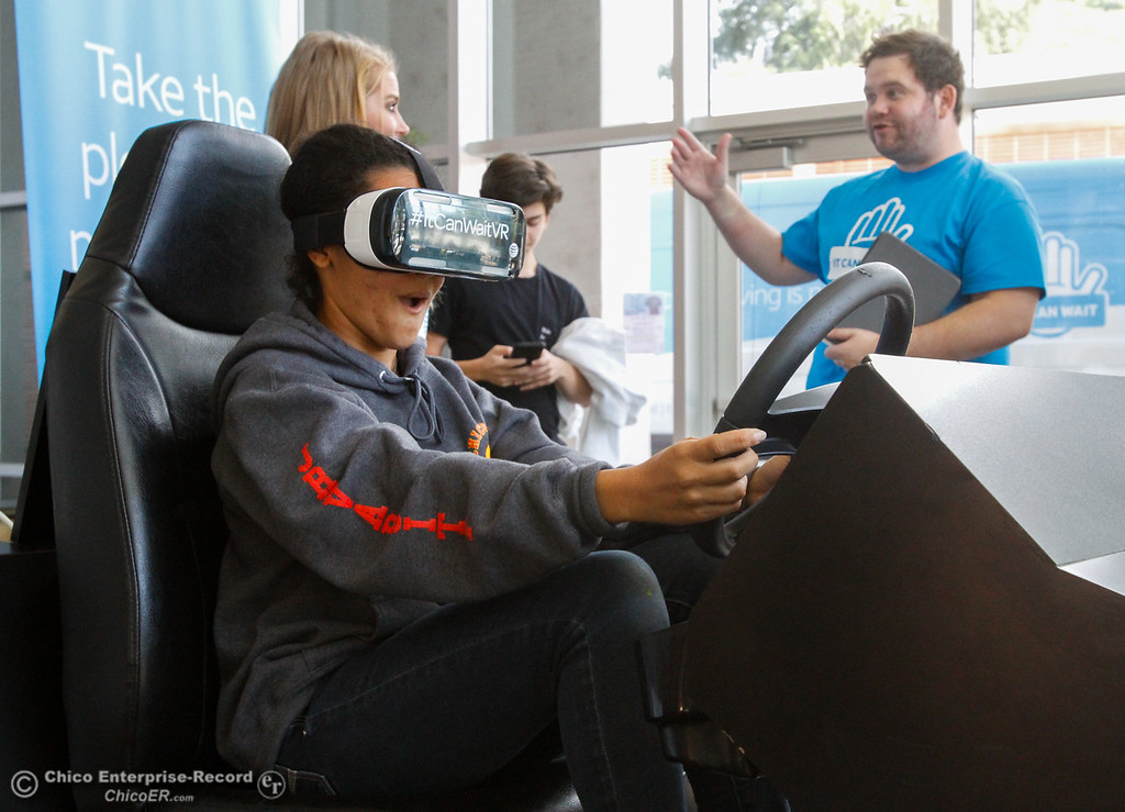 . Chico High freshman Teala Grayson experiences distracted driving first hand in a virtual reality simulator brought to the campus by AT&T\'s program It Can Wait Tuesday October 3, 2017 in Chico, California. (Emily Bertolino -- Enterprise-Record)