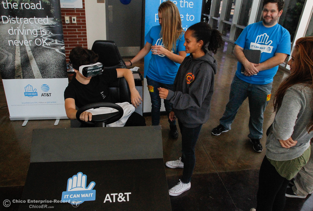 . Chico High students in Vallarie Jensen\'s health education class experience distracted driving first hand in a virtual reality simulator as part of AT&T\'s program It Can Wait Tuesday October 3, 2017 in Chico, California. (Emily Bertolino -- Enterprise-Record)