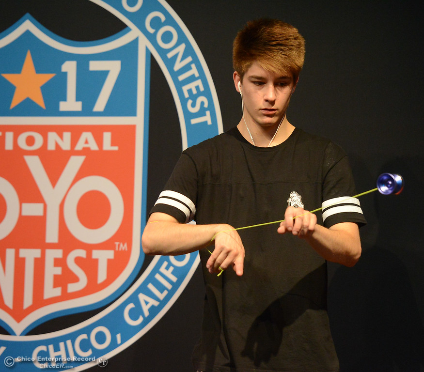 . Chandler Steele from Springboro, Ohio practices before the 1A final event at the 2017 National Yo-Yo Contest October 7, 2017 at the Chico Center for the Arts in Chico, California. (Emily Bertolino -- Enterprise-Record)