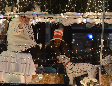 Cruella de Vil and a dalmatian with Wags And Whiskers Pet Rescue sits on a float during the 28th annual Chico Parade of Lights Saturday October 7, 2017 in Chico, California. (Emily Bertolino -- Enterprise-Record)