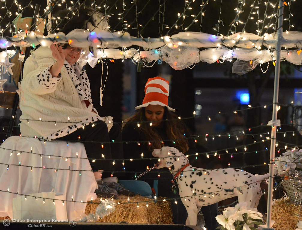 . Cruella de Vil and a dalmatian with Wags And Whiskers Pet Rescue sits on a float during the 28th annual Chico Parade of Lights Saturday October 7, 2017 in Chico, California. (Emily Bertolino -- Enterprise-Record)