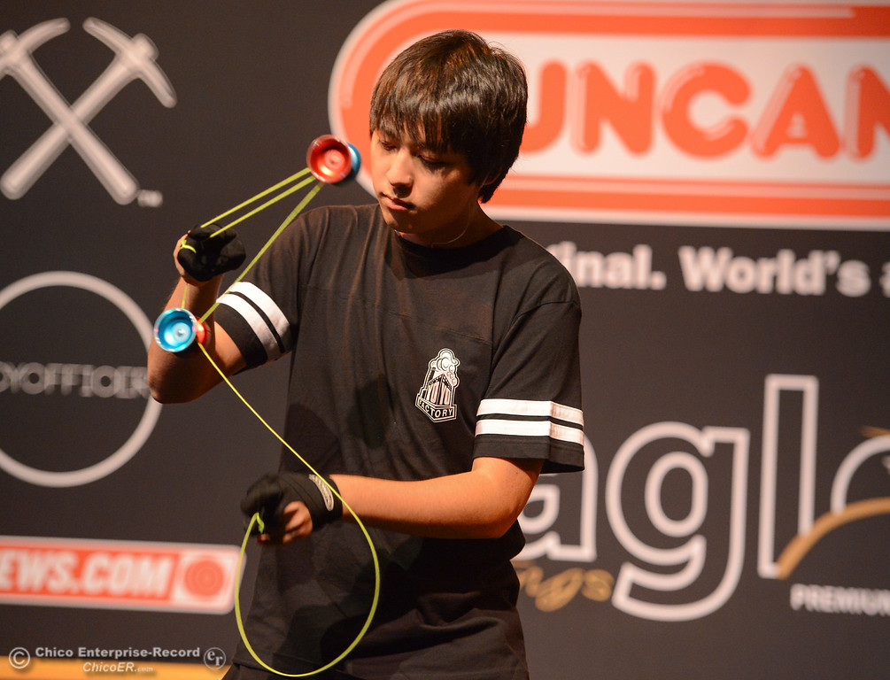 . Alex Hattori from Cambridge Massachusetts rehearses his routine before the 3A final event at the 2017 National Yo-Yo Contest October 7, 2017 at the Chico Center for the Arts in Chico, California. (Emily Bertolino -- Enterprise-Record)