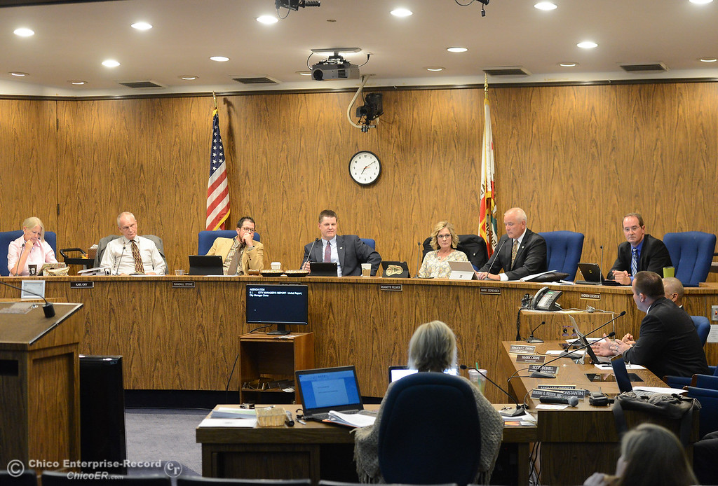 . The Chico City Council members Tuesday October 3, 2017 in Chico, California. (Emily Bertolino -- Enterprise-Record)