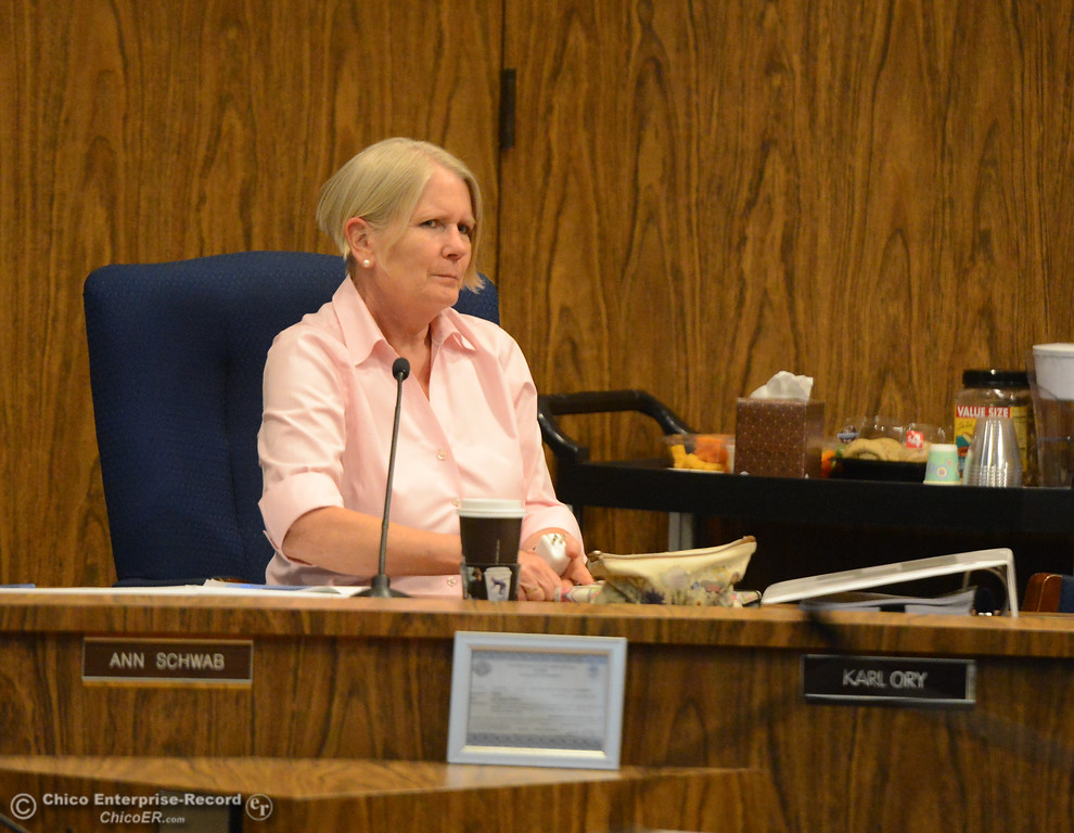 . Chico city council members Ann Schwab at a council meeting Tuesday October 3, 2017 in Chico, California. (Emily Bertolino -- Enterprise-Record)