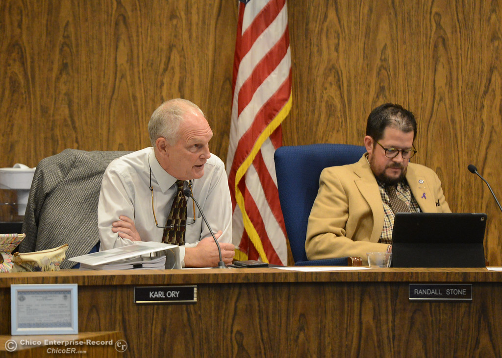 . City council members Karl Ory and Randall Stoney Tuesday October 3, 2017 in Chico, California. (Emily Bertolino -- Enterprise-Record)