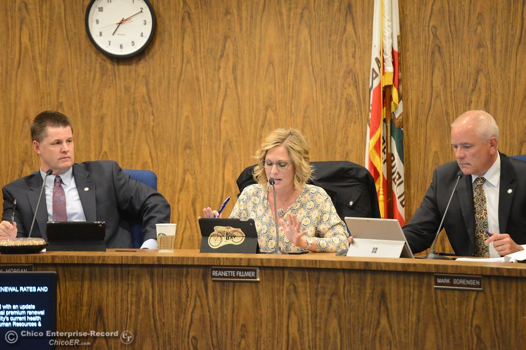 . Mayor Sean Morgan, Vice Mayor Reanette Fillmer and city council member Mark Sorensen at a council meeting Tuesday October 3, 2017 in Chico, California. (Emily Bertolino -- Enterprise-Record)