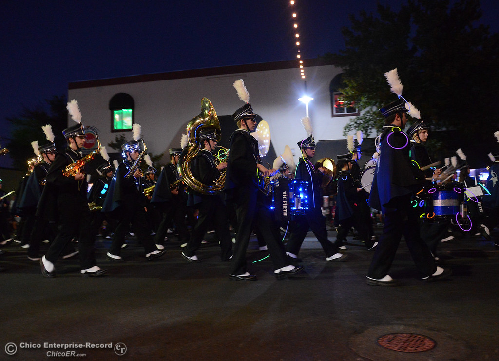 . The Pleasant Valley marching band makes waves through the 28th annual Chico Parade of Lights Saturday October 7, 2017 in Chico, California. (Emily Bertolino -- Enterprise-Record)