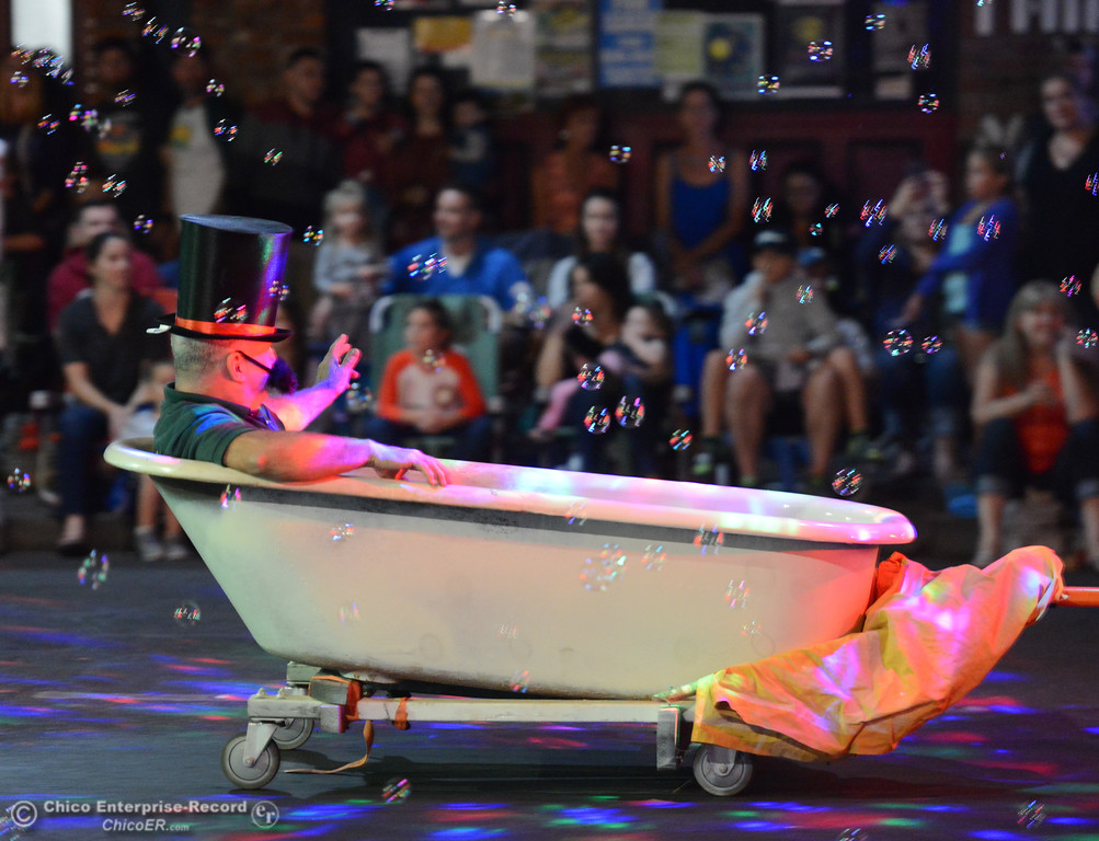 . Bathtub Refinishers floats down the 28th annual Chico Parade of Lights Saturday October 7, 2017 in Chico, California. (Emily Bertolino -- Enterprise-Record)