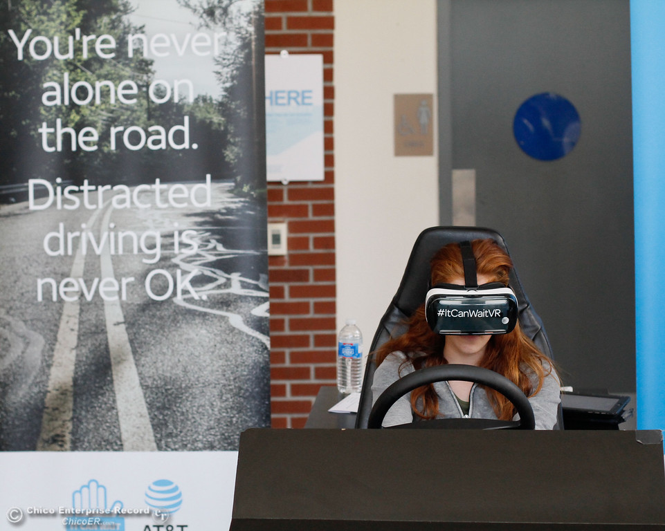 . Chico High freshman in Vallerie Jensen\'s health education class experience distracted driving first hand through AT&T\'s virtual reality program It Can Wait Tuesday October 3, 2017 in Chico, California. (Emily Bertolino -- Enterprise-Record)