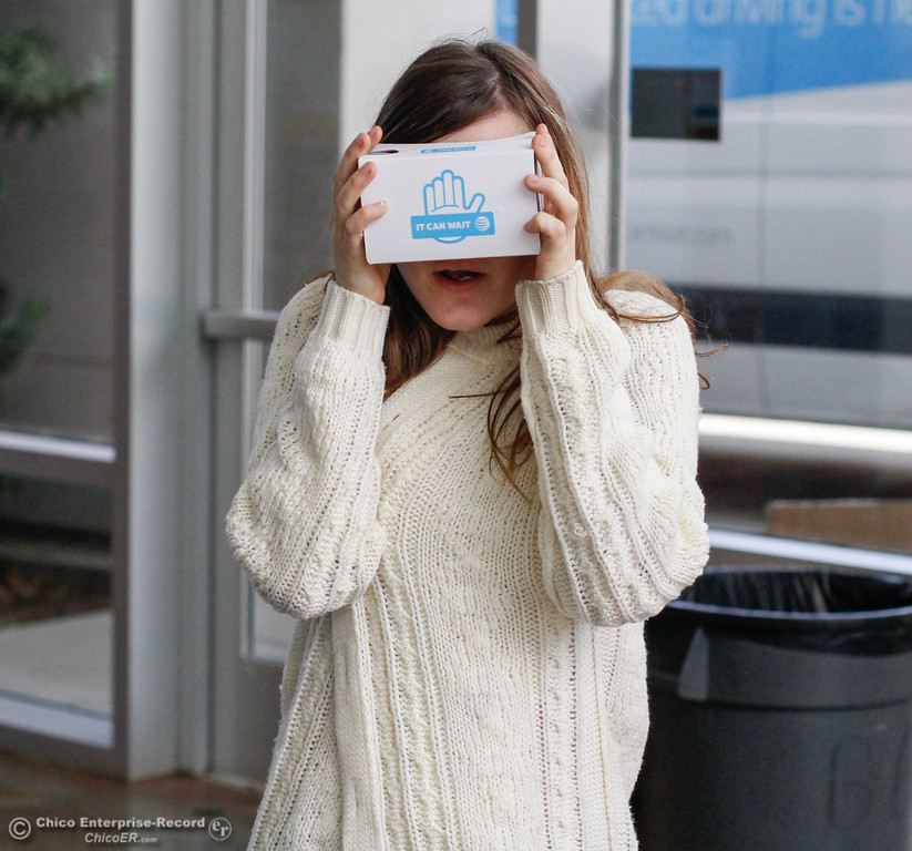 . Chico High students in Vallaire Jensen\'s health education class experience distracted driving first hand through AT&T\'s virtual reality program It Can Wait Tuesday October 3, 2017 in Chico, California. (Emily Bertolino -- Enterprise-Record)