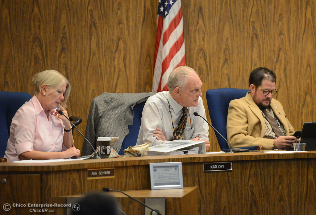 . Chico city council members Ann Schwab, Karl Ory and Randall Stone Tuesday October 3, 2017 in Chico, California. (Emily Bertolino -- Enterprise-Record)