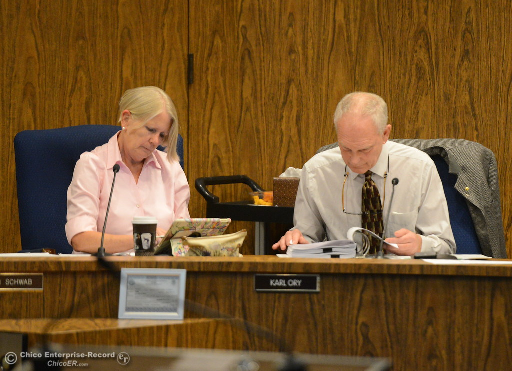 . Chico city council members Ann Schwab and Karl Ory at a council meeting Tuesday October 3, 2017 in Chico, California. (Emily Bertolino -- Enterprise-Record)