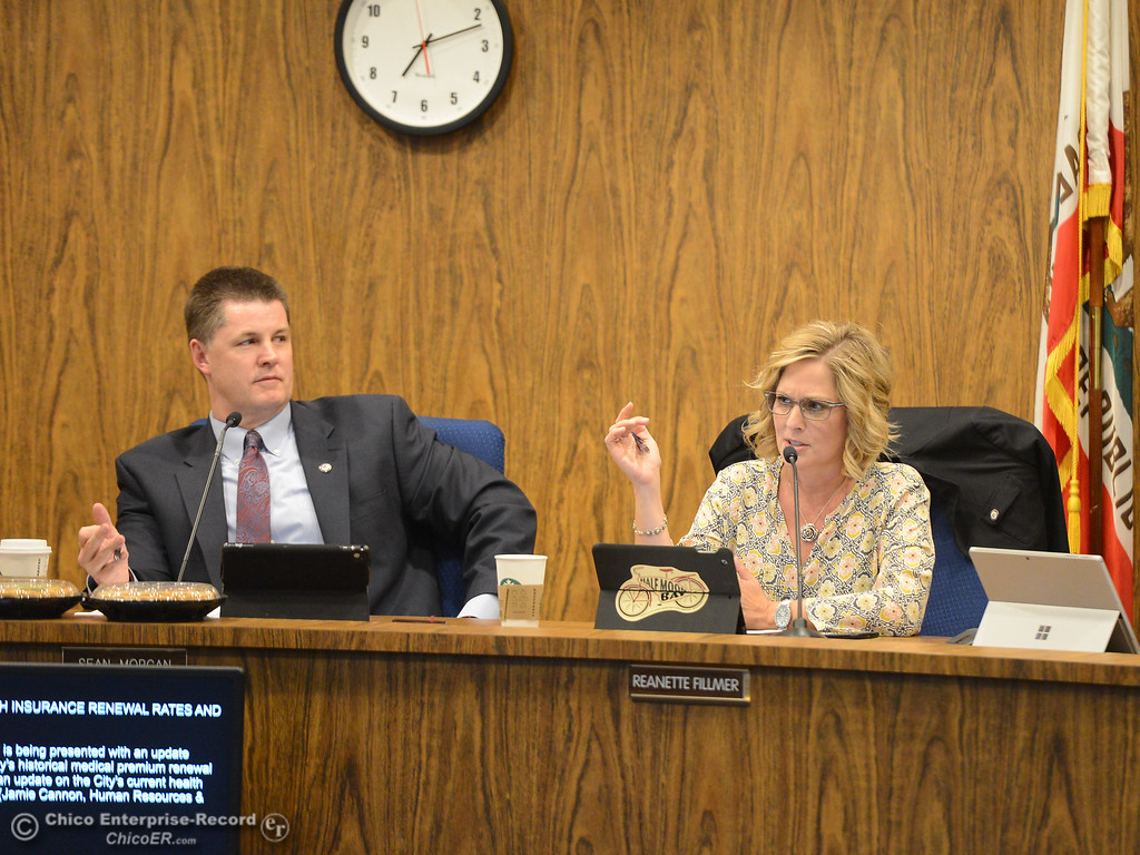 . Mayor Sean Morgan and Vice Mayor Reanette Fillme at a council meeting Tuesday October 3, 2017 in Chico, California. (Emily Bertolino -- Enterprise-Record)