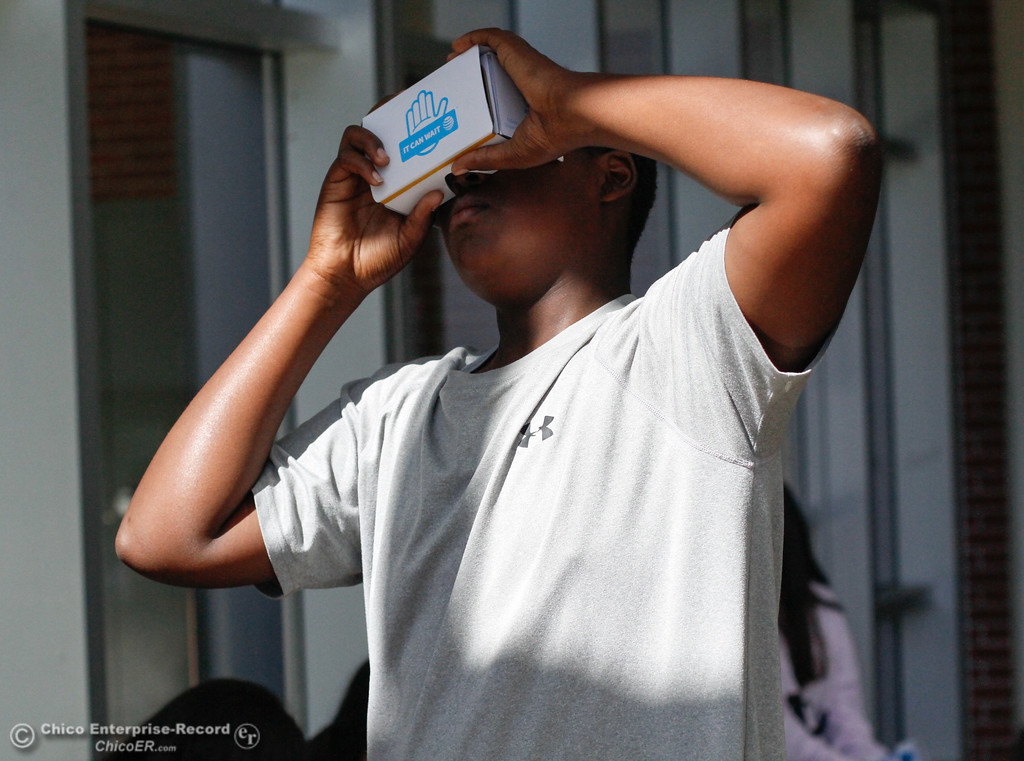 . Chico High freshman Dayne Webster experiences distracted driving first hand in a virtual reality simulator brought to the campus by AT&T\'s program It Can Wait Tuesday October 3, 2017 in Chico, California. (Emily Bertolino -- Enterprise-Record)