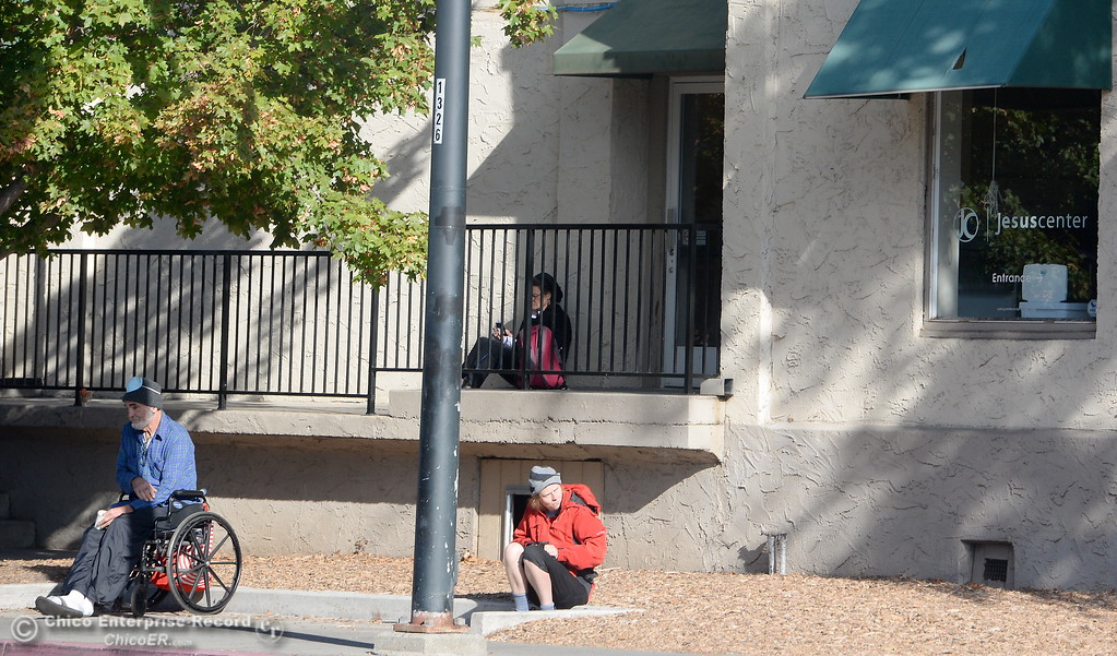 . People are seen outside of the Jesus Center on Park Ave. in Chico, Calif. Tues. Nov. 7, 2017.  (Bill Husa -- Enterprise-Record)