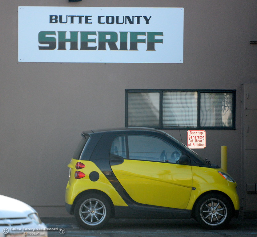 . A smart car sits parked near the Butte County Sheriff office in Chico, Calif. Tues. Nov. 7, 2017.  (Bill Husa -- Enterprise-Record)