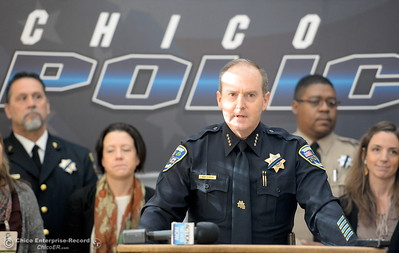 "City of Chico Chief of Police Mike O'Brien speaks on the issue of public safety following the election during a press conference at the Old Municipal Building in downtown Chico, Calif. Wed. Nov. 16, 2016. O'Brien reassured the community that they are committed to protecting all. ""All means all"" said O'Brien. (Bill Husa -- Enterprise-Record)"