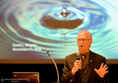 Dave Wegner, a former Bureau of Reclamation scientist talks about water issues during  the Aqualliance Conference held at the Sierra Nevada Big Room in Chico, Calif. Thurs. Nov. 17, 2016. (Bill Husa -- Enterprise-Record)