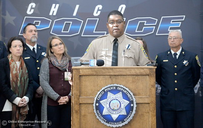 "Butte County Sheriff's Chaplan E. Hall speaks on the issue of public safety following the election during a press conference at the Old Municipal Building in downtown Chico, Calif. Wed. Nov. 16, 2016. O'Brien reassured the community that they are committed to protecting all. ""All means all"" said O'Brien. (Bill Husa -- Enterprise-Record)"