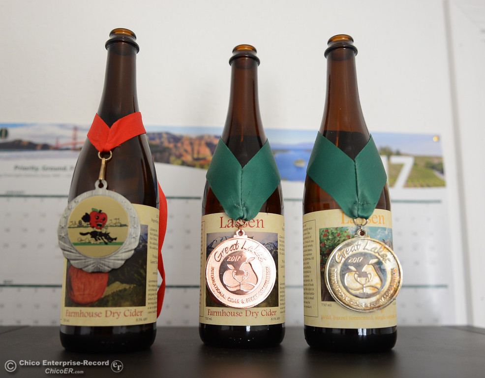 . Awards that Lassen Cidery has won for their ciders Wednesday November 1, 2017 in Chico, California. (Emily Bertolino -- Enterprise-Record)