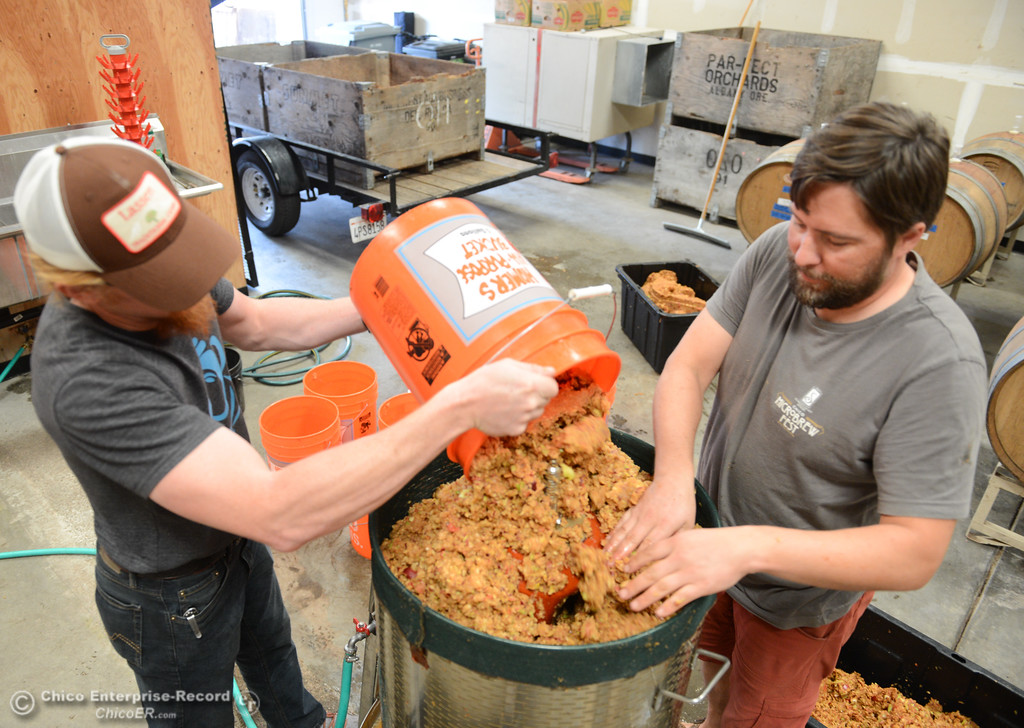 . Ben Nielsen of Lassen Cidery and Matt Merritt, left, pack apple pulp to be juiced as Nielsen starts his new batch of apple cider Wednesday November 1, 2017 in Chico, California. (Emily Bertolino -- Enterprise-Record)