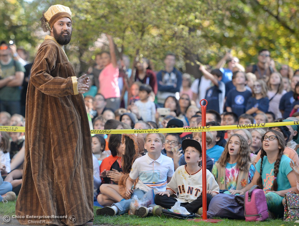 . Jared Sweatman plays the role of Galileo Galilei while Society of Physics Students and the Department of Physics at CSUC give a lesson on gravity by dropping pumpkins off of Butte Hall during the 30th annual Pumpkin Drop Tues. Oct. 31, 2017.  (Bill Husa -- Enterprise-Record)