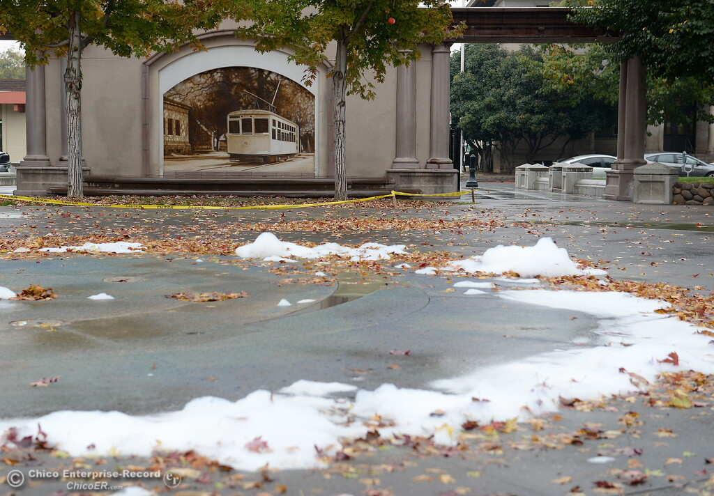 . Foam is seen near the City Plaza fountain area as rain falls in Chico, Calif. Fri. Nov. 3, 2017. (Bill Husa -- Enterprise-Record)