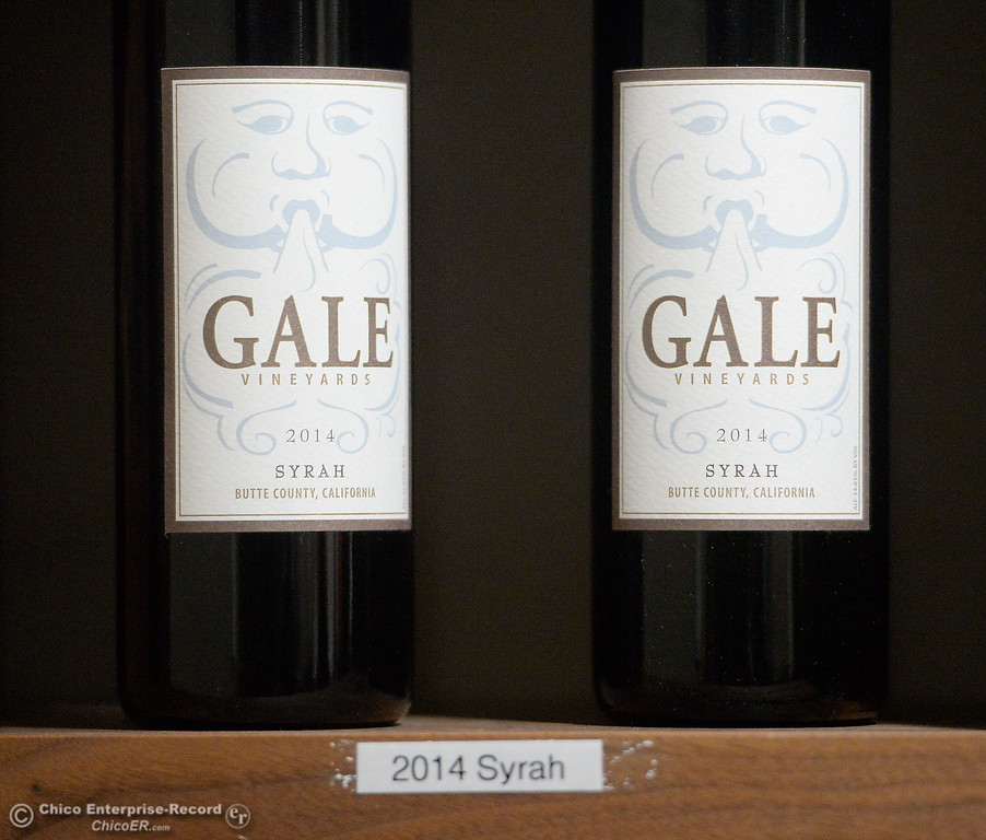 . A couple of bottles of 2014 Syrah are seen at the tasting room of Gale Vinyards in Durham, Calif. Fri. Nov. 3, 2017. (Bill Husa -- Enterprise-Record)