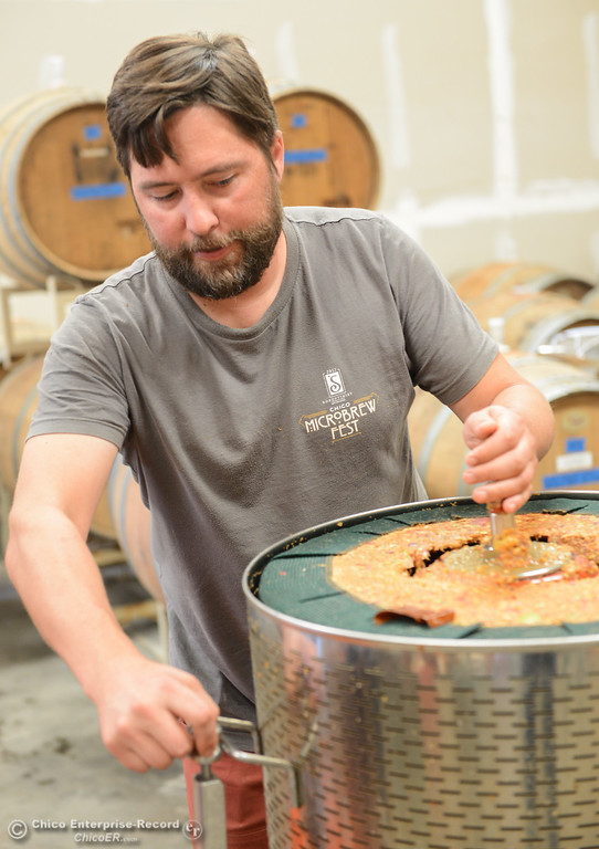 . Ben Nielsen of Lassen Cidery has begun pressing apples for his new batch of apple cider Wednesday November 1, 2017 in Chico, California. (Emily Bertolino -- Enterprise-Record)