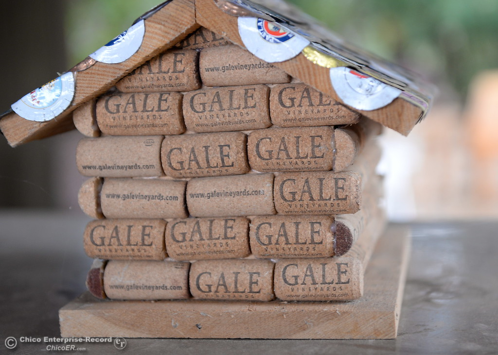 . A small cork house is seen on a table at the tasting room of Gale Vinyards in Durham, Calif. Fri. Nov. 3, 2017. (Bill Husa -- Enterprise-Record)