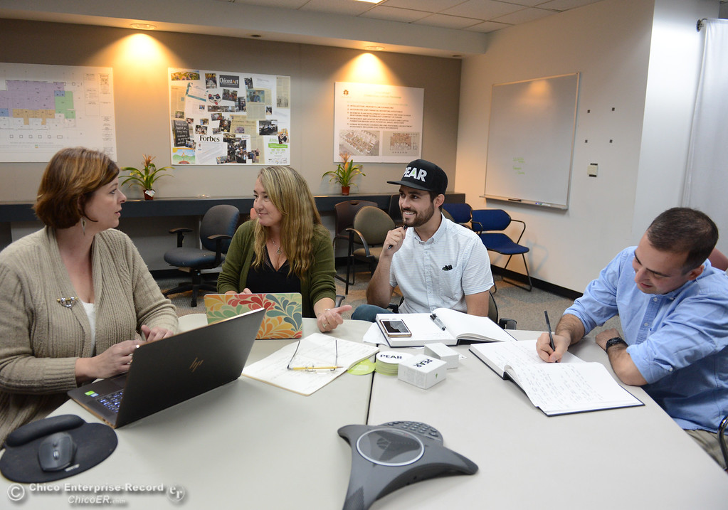 . Matthew Roberts, center right and Nathan Anderson, right talk about their business PEAR Cards with Valerie Reddemann, left, and Wendy Porter, center left, in advance of 1 Million Cups of Coffee Wednesday November 1, 2017 in Chico, California. (Emily Bertolino -- Enterprise-Record)
