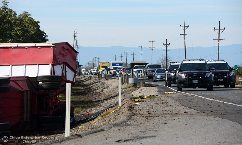 Traffic backs up after a semitrailer and a pickup crashed Thursday, Nov. 3, 2016, on Highway 32 at Meridian Road in Chico, California, killing the driver of the pickup, a 20-year-old woman from Chico. (Dan Reidel -- Enterprise-Record)