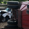 A semitrailer and a pickup crashed Thursday, Nov. 3, 2016, on Highway 32 at Meridian Road in Chico, California, killing the driver of the pickup, a 20-year-old woman from Chico. (Dan Reidel -- Enterprise-Record)