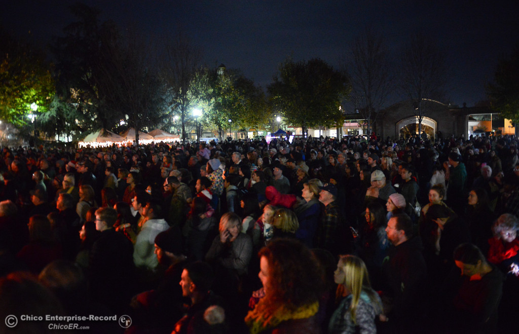 . People fill the city plaza for the lighting of the Annual Community Christmas Tree Friday December 1, 2017 in Chico, California. (Emily Bertolino -- Enterprise-Record)