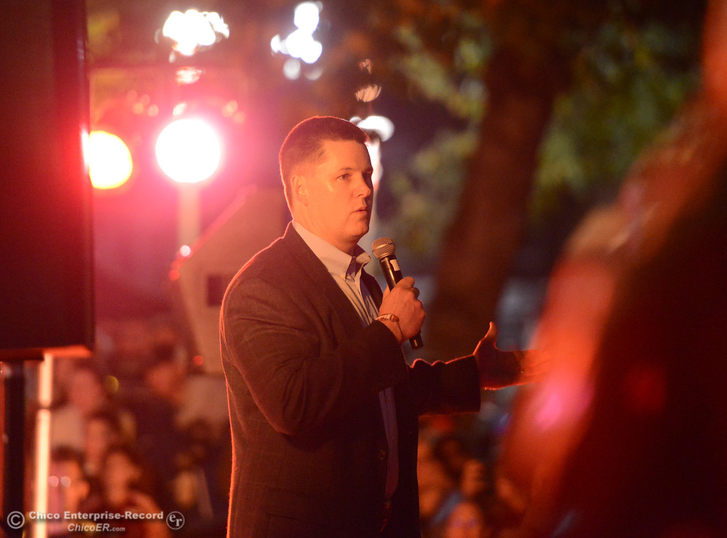. City of Chico mayor Mark Sorensen addresses the crowd during the lighting of the Annual Community Christmas Tree Friday December 1, 2017 in Chico, California. (Emily Bertolino -- Enterprise-Record)
