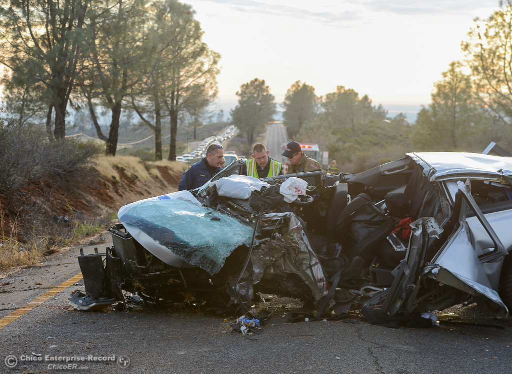 . A man is transported to the hospital via helicopter after colliding with a tree while traveling west bound down Skyway Thursday November 30, 2017 in Paradise, California. (Emily Bertolino -- Enterprise-Record)
