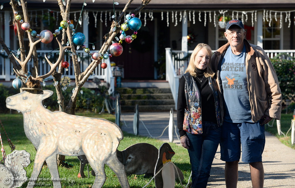 . Doug and Michele Wurlitzer always decorate their yard for Christmas and have been on the Tour of Lights for years. This year they have experienced vandalism including a four wheeler running through their yard. Tues. Nov. 28, 2017. (Bill Husa -- Enterprise-Record)